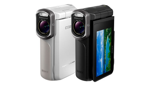 Sony_GW55_VE_Full_HD_Rugged_Camcorder_Elegant_Silver_Black_Front_Right_Closed_Open_LCD_Sexy_Duo_Dandy_Gadget_Digital_Cameras
